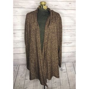 Ellen Tracy Brown and Gold Sparkle Cardigan F1-106